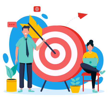 Illustration of business colleagues working to hit the target | Bento for Business